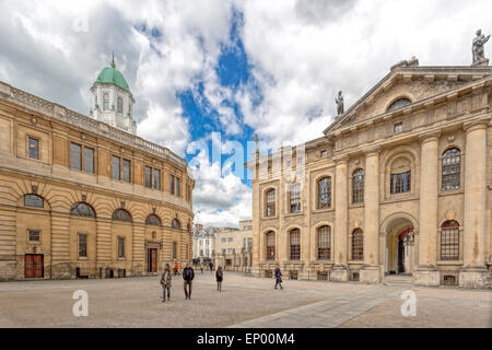 View on the Sheldonian Theatre on the left and Clarendon Building on the right, Oxford, England, Oxfordshire, United - Stock Photo