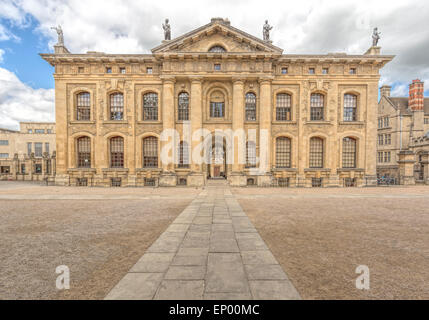 View on the Clarendon Building, an early 18th-century neoclassical building of the University of Oxford, England, - Stock Photo