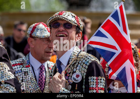 Pearly Kings and Queens Gather In Trafalgar Square During The 70th Anniversary of VE Day Celebrations, London, England - Stock Photo