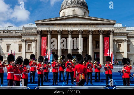 The Band Of The Grenadier Guards Perform In Trafalgar Square On The 70th Anniversary Of VE Day, London, England - Stock Photo