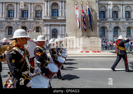 The Band Of Her Majesties Royal Marines March Past The Cenotaph War Memorial On The 70th Anniversary Of VE Day, - Stock Photo
