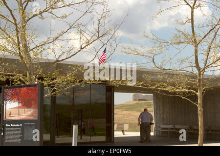 Somerset County, PA, USA - May 8, 2015 : Visitors entering Flight 93 National Memorial through archway showing new - Stock Photo