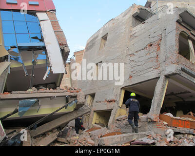 Kathmandu, Nepal. 12th May 2015. A fresh earthquake has occurred in Nepal. Photo shows American Rescuers today in - Stock Photo