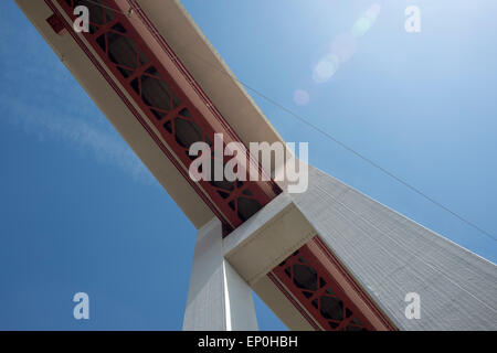 25th of April bridge ponte 25 de abril bridge over the Tagus in Lisbon Portugal - Stock Photo