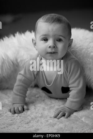 Baby boy in Black and white looking inquisitive in blanket - Stock Photo