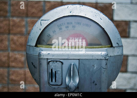 Vintage parking meter with red expired sign. - Stock Photo