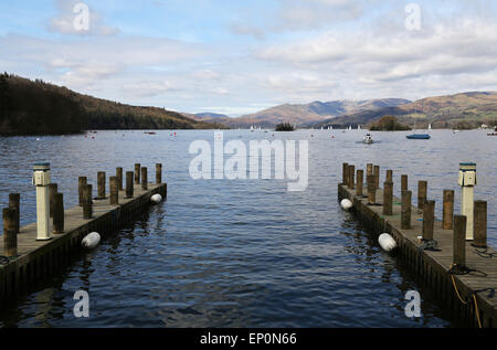 Windermere lake view in Lake District, UK - Stock Photo