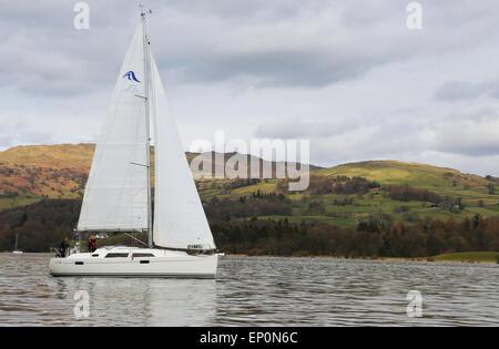 Boat in Windermere lake in Lake District, UK - Stock Photo