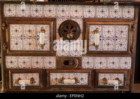 old stove, The Lark in the Funk Zone, Santa Barbara, California, United States of America - Stock Photo
