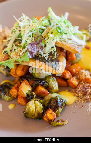 roasted seabass with sweet potatoes and brussels sprouts, citrus hollandaise and bacon bits, Finch & Fork, Canary Hotel, Santa B