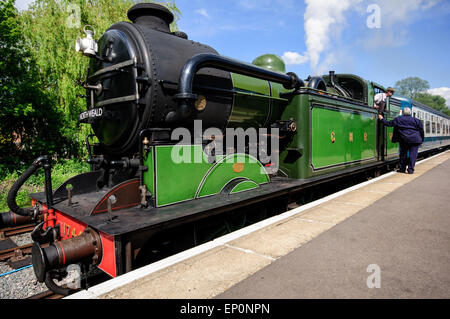 A historic train in Ongar station. Epping-Ongar railway attraction in Essex. - Stock Photo