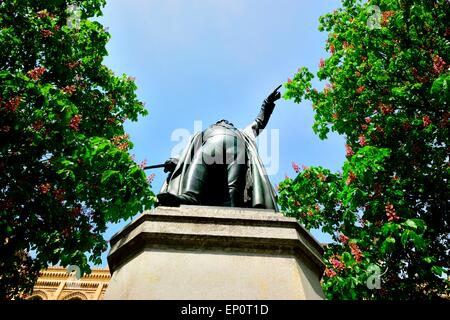 Monument of Erasmus Graf von Deroy in front of the public office building of the government of Upper Bavaria - Stock Photo