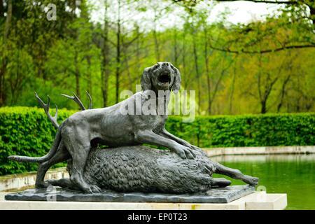 Hunting animal figures South Marble Fountain,Herrenchiemsee, Herreninsel Upper Bavaria Germany - Stock Photo