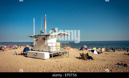 Lifeguard station on the Bournemouth beach in summer, Dorset, England - Stock Photo