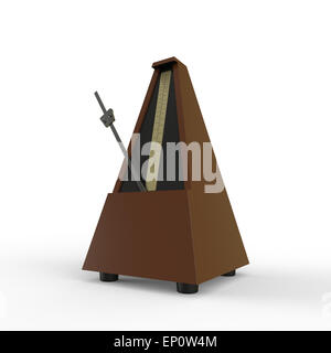 brown pyramid shaped wooden metronome on a white background used for music practice to keep the rhythm - Stock Photo