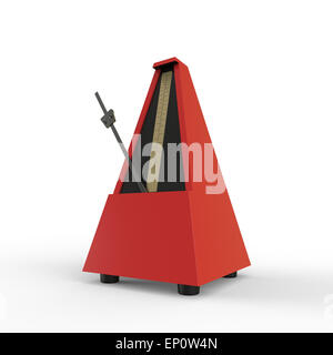 red pyramid shaped wooden metronome on a white background used for music practice to keep the rhythm - Stock Photo
