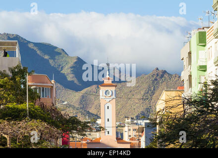 Church in Santa Cruz on Tenerife with Anaga mountains in background. Canary Islands, Spain - Stock Photo