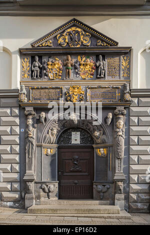 Portal of the Town Hall, Renaissance, 1576, Gera, Thuringia, Germany - Stock Photo
