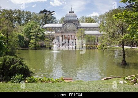 Crystal Palace in Buen Retiro Park, Madrid, Spain - Stock Photo