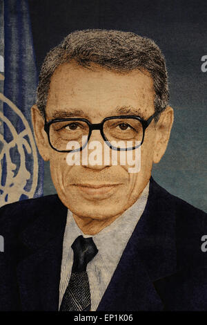 Boutros Boutros-Ghali (b. 1922). Egyptian politician. 6th Secretary-General of the United Nations from 1992-1996. - Stock Photo