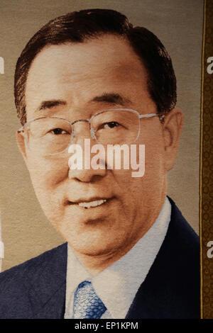 Ban Ki- Moon (B. 1944). South Korean diplomat. 8th Secretary-General of the United Nations 2007-. Tapestry. Headquaters - Stock Photo