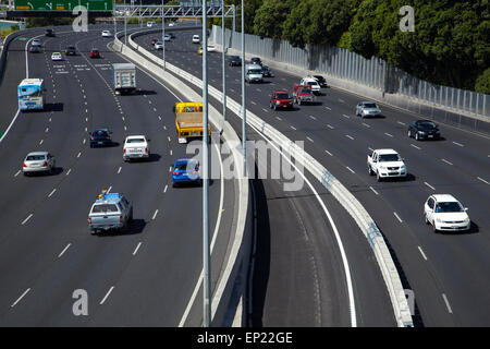 Traffic on motorways, Central Auckland, North Island, New Zealand - Stock Photo