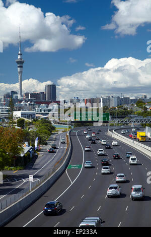 Northern Motorway and Skytower, Auckland, North Island, New Zealand - Stock Photo