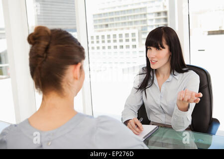 A business woman interviews a potential new employee - Stock Photo