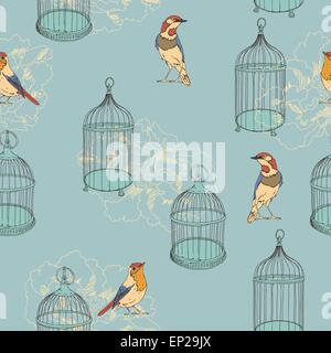 Seamless pattern with tea, cage, coffee pot, cup, jelly, cherry, berry, macaroon, strawberry, spoon, bird, flower, - Stock Photo