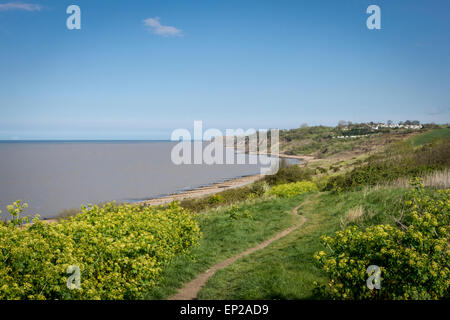 Footpath leading down to the beach at Minster on Sea, Isle of Sheppey, Kent, UK