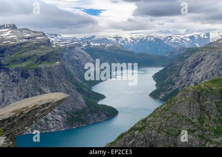 Trolltunga, Troll's tongue rock, Norway - Stock Photo