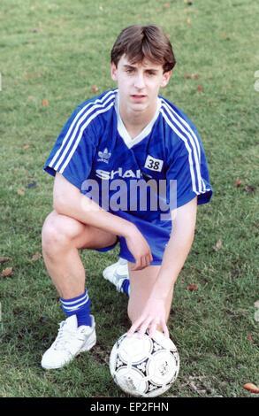 Manchester United youth team player Gary Neville, November 1991. - Stock Photo