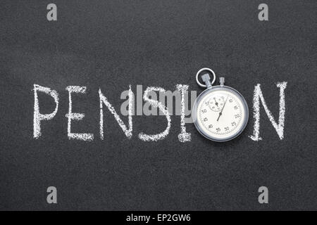 pension word handwritten on chalkboard with vintage precise stopwatch used instead of O - Stock Photo