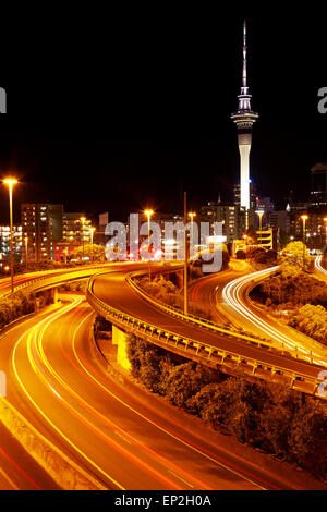 Motorways and Skytower, Auckland, North Island, New Zealand - Stock Photo