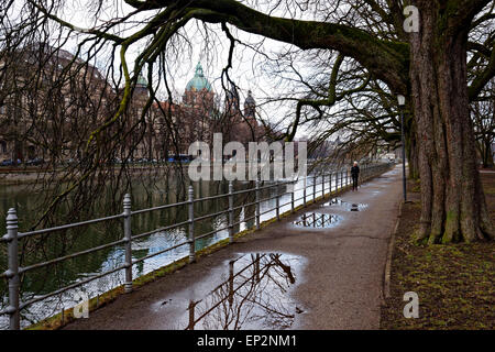 View along the Isar River to St. Lucas Church, Munich, Upper Bavaria, Germany, Europe. - Stock Photo