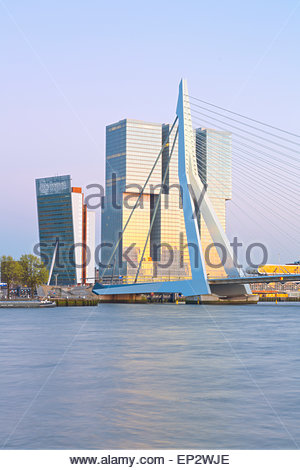 Netherlands, County of Holland, Rotterdam, View to Erasmus bridge and KPN Tower by Renzo Piano De Rotterdam building - Stock Photo