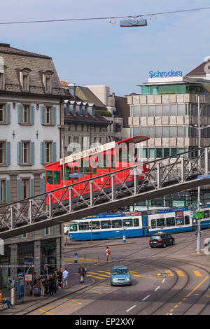 Switzerland, Zurich, Central square with City cable car - Stock Photo