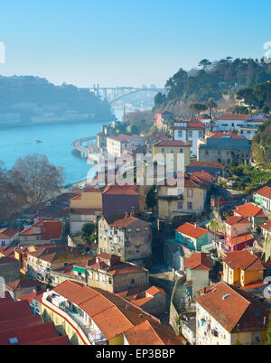 Famous Old Town of Porto in the sunny day. Portugal - Stock Photo