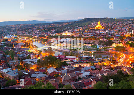 Skyline of Tbilisi from the viewpoint. Georgia - Stock Photo