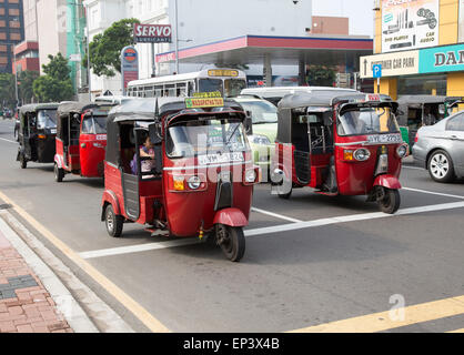 Tuk Tuks motorised rickshaw tricycle taxi vehicles, Colombo,  Sri Lanka, Asia - Stock Photo