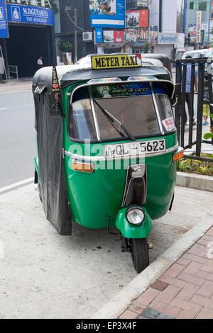 Tuk Tuk motorised rickshaw tricycle taxi vehicle, Colombo, Sri Lanka, Asia - Stock Photo