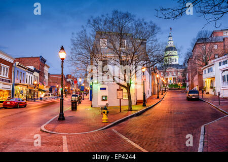 Annapolis, Maryland, USA downtown cityscape on Main Street. - Stock Photo