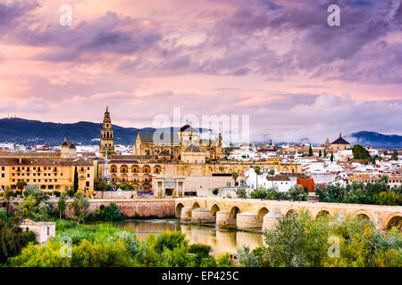 Cordoba, Spain at the Roman Bridge and Mosque-Cathedral on the Guadalquivir River. - Stock Photo
