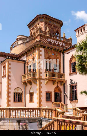 Ca' d'Zan, the Mediterranean revival residence in Sarasota, Florida home of Americans John and Mable Ringling in - Stock Photo