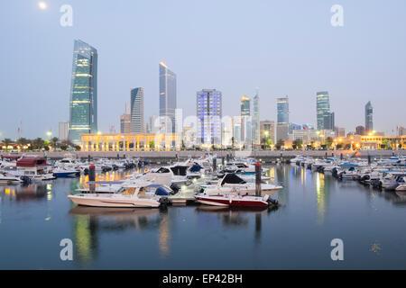 Skyline of Kuwait City from Souq Sharq marina in Kuwait - Stock Photo