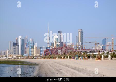 Skyline of central Kuwait City  in Kuwait - Stock Photo