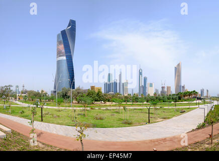 Skyline of Central Business District (CBD) from new Al Shaheed Park in  Kuwait City, Kuwait - Stock Photo