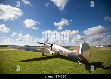 Supermarine Spitfire P9374 at The Imperial War Museum in Duxford, Cambridgeshire - Stock Photo