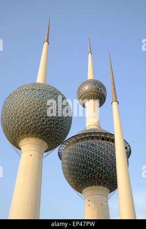 Detail of Kuwait Towers in Kuwait City, Kuwait. - Stock Photo