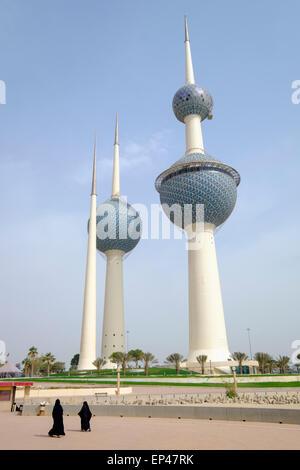 Kuwait Towers in Kuwait City, Kuwait. - Stock Photo